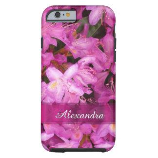 Fotografía rosada bonita personalizada de la flor funda de iPhone 6 tough