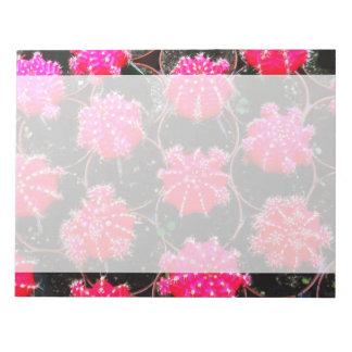 Fotografía rosada de la planta del cactus de la fl bloc de notas