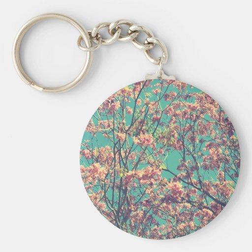 Fotografía rosada de las flores del vintage llavero personalizado