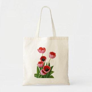 Fotografía rosada del ramo del tulipán de la bolsa tela barata