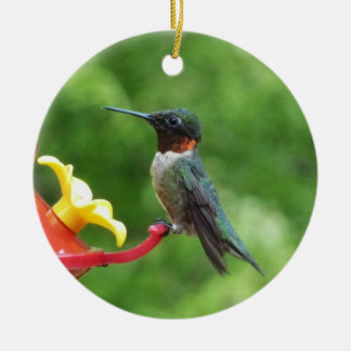 Fotografía Rubí-Throated del pájaro del colibrí Adorno Navideño Redondo De Cerámica