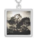 Fotografía surrealista blanco y negro de los árbol pendientes