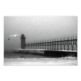Fotografía tempestuosa del faro del lago Michigan Arte Fotográfico