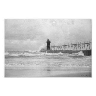 Fotografía tempestuosa del faro del lago Michigan Fotografías