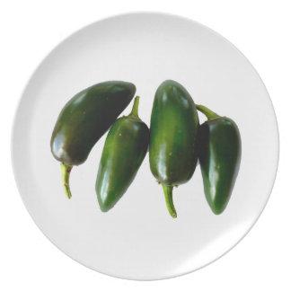 Fotografía verde de cuatro pimientas del Jalapeno Platos