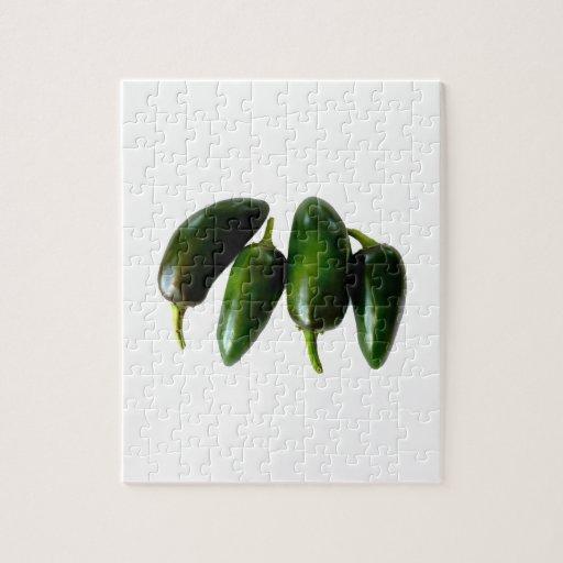 Fotografía verde de cuatro pimientas del Jalapeno Rompecabezas Con Fotos