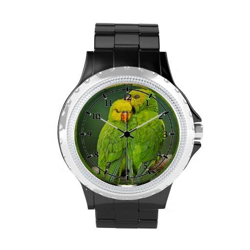 Fotografía verde de los pájaros del amor de los lo relojes de mano