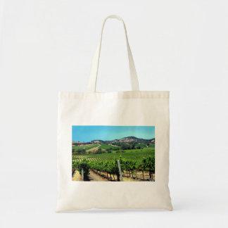 fotografía verde del viñedo bolsa tela barata