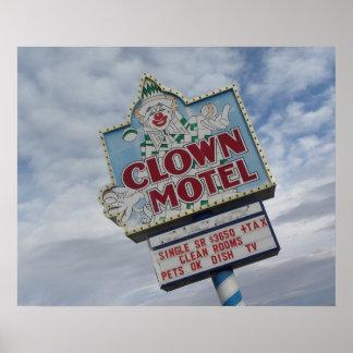 Fotografía vieja de Nevada del motel del payaso de Póster