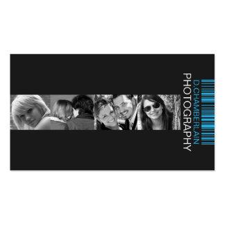 Fotografía y código de barras - azul tarjeta de negocio
