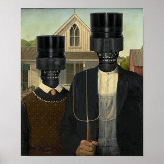 Fotográfico gótico americano póster