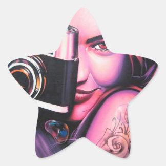 Fotógrafo del chica de la pintada pegatinas forma de estrellaes personalizadas