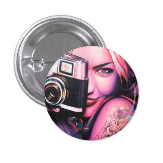 Fotógrafo del chica de la pintada pin redondo de 1 pulgada