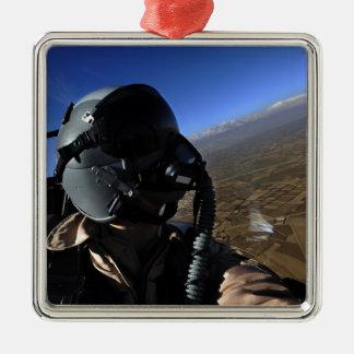 Fotógrafo del combate aéreo de la fuerza aérea de adorno navideño cuadrado de metal