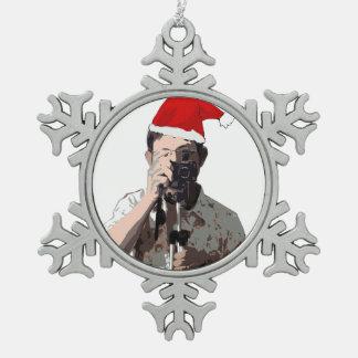 Fotógrafo del día de fiesta adorno de peltre en forma de copo de nieve
