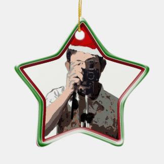 Fotógrafo del día de fiesta adorno de cerámica en forma de estrella