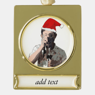 Fotógrafo del navidad adornos navideños dorados