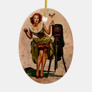 Fotógrafo del vintage adorno navideño ovalado de cerámica