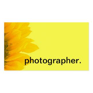 Fotógrafo floral macro de la foto del girasol tarjetas de visita