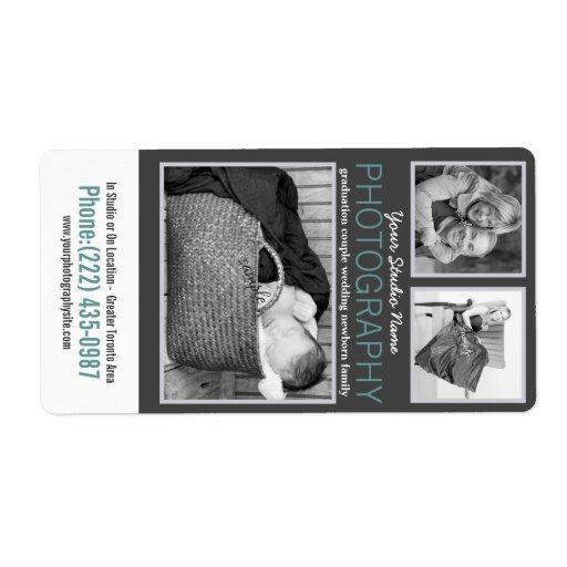 Fotógrafo moderno del gris y de la aguamarina etiqueta de envío