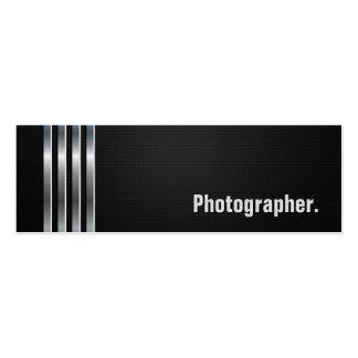 Fotógrafo - rayas de plata negras tarjetas de visita mini