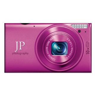 Fotógrafo rosado de la cámara compacta tarjetas de visita
