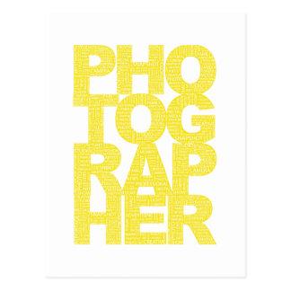 Fotógrafo - texto amarillo tarjeta postal