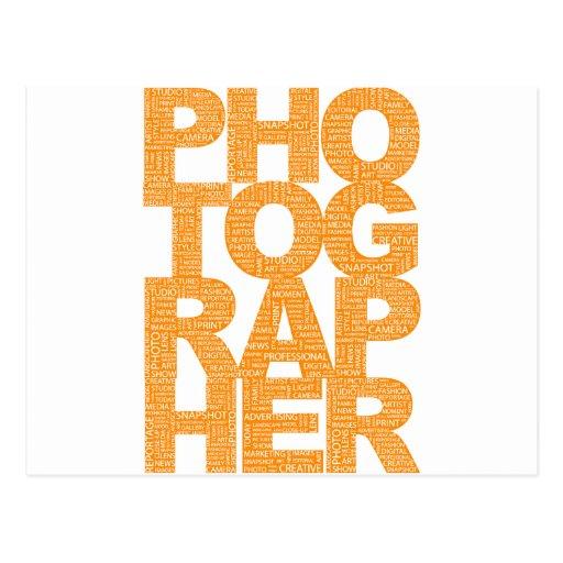 Fotógrafo - texto anaranjado tarjetas postales