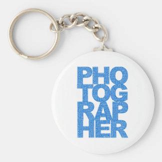 Fotógrafo - texto azul llaveros personalizados