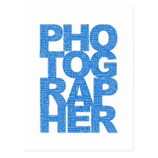 Fotógrafo - texto azul postales