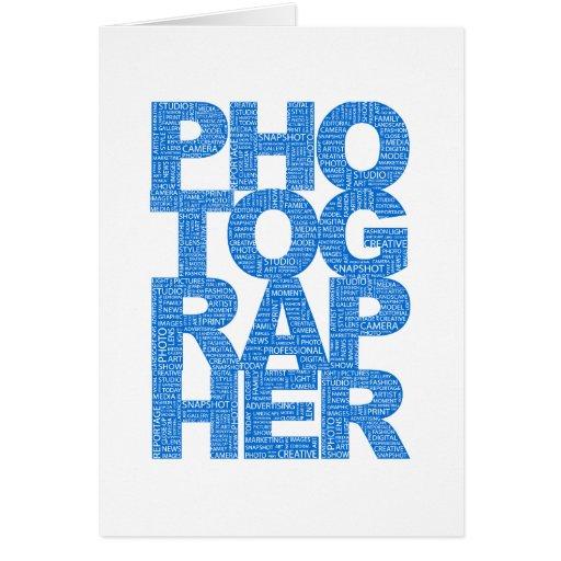Fotógrafo - texto azul tarjeta de felicitación