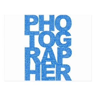Fotógrafo - texto azul tarjetas postales