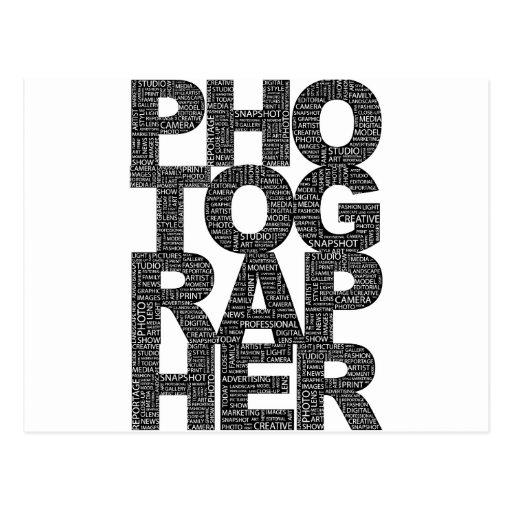 Fotógrafo - texto negro tarjeta postal