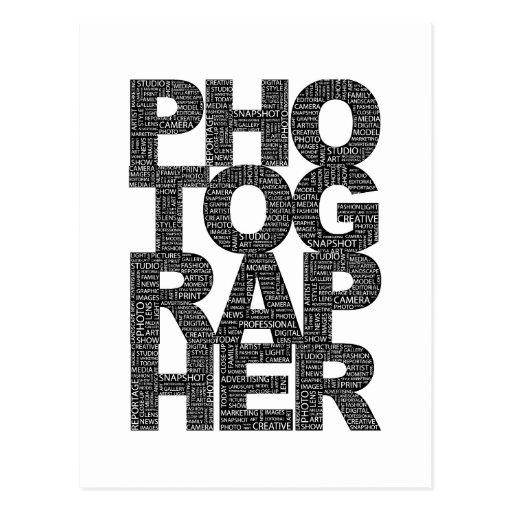 Fotógrafo - texto negro tarjetas postales