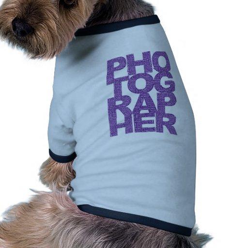Fotógrafo - texto púrpura camiseta de perro