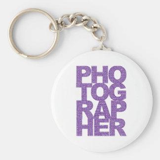 Fotógrafo - texto púrpura llavero