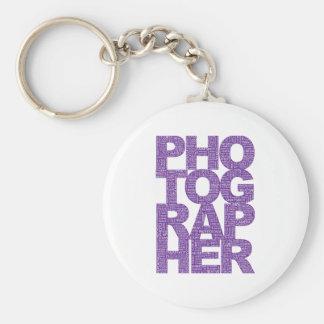 Fotógrafo - texto púrpura llavero personalizado