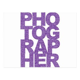 Fotógrafo - texto púrpura postal