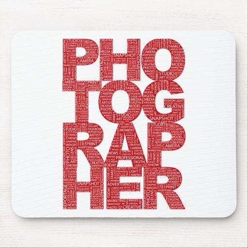 Fotógrafo - texto rojo alfombrilla de ratones