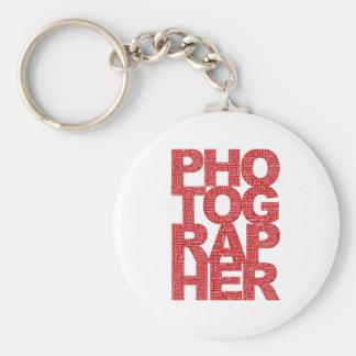 Fotógrafo - texto rojo llaveros personalizados