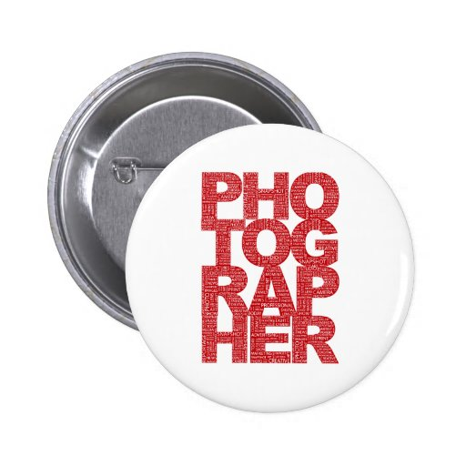Fotógrafo - texto rojo pins