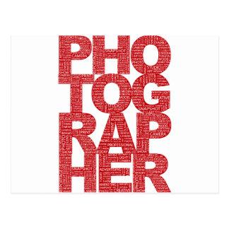 Fotógrafo - texto rojo tarjeta postal