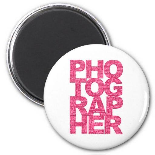 Fotógrafo - texto rosado imán redondo 5 cm