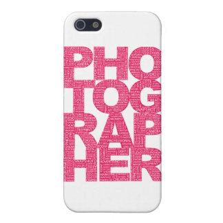 Fotógrafo - texto rosado iPhone 5 carcasas