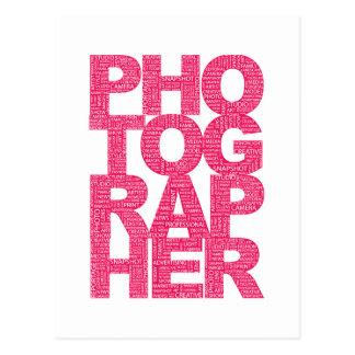 Fotógrafo - texto rosado tarjetas postales