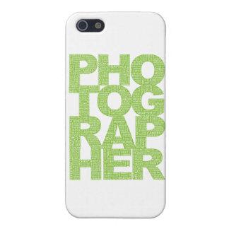 Fotógrafo - texto verde iPhone 5 carcasas