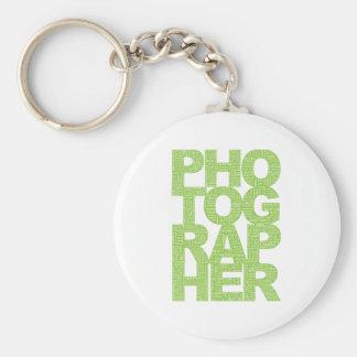 Fotógrafo - texto verde llavero personalizado