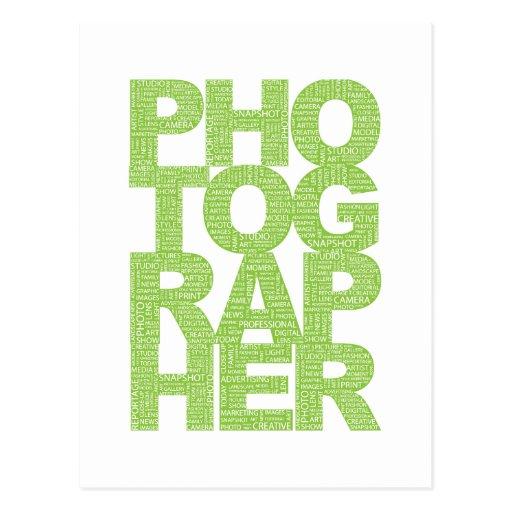 Fotógrafo - texto verde tarjetas postales