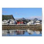 Fotokarte de casas en Kabelvåg Tarjeta Pequeña