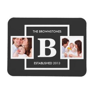 Fotos de familia con el monograma personalizado imanes rectangulares